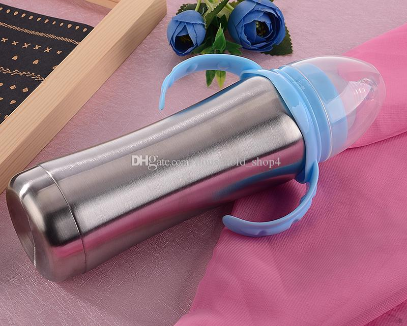 스테인레스 스틸 간호병 (식품 등급 실리콘 포함) 젖꼭지 유아용 우유 공급기 유아용 병 8oz 어린이 컵