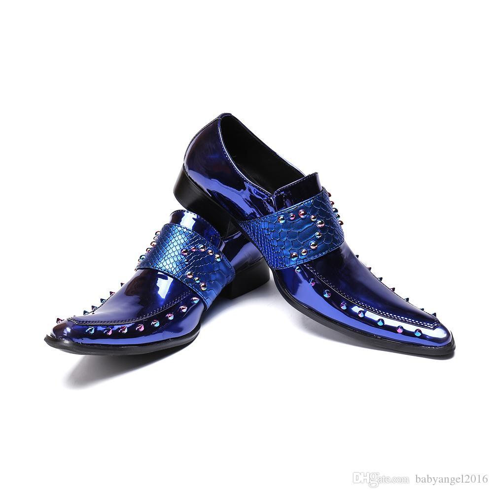 Luxus Lackleder Männer Oxford Schuhe Karree Multicolor Nieten Männer Kleid Schuhe Hochzeit Formale Brogue Schuhe