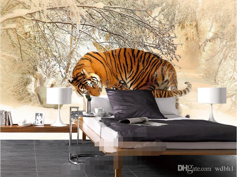 Papel pintado 3d foto personalizada Tiger invierno nevoso paisaje hermoso fondo pared 3d murales de pared papel tapiz para paredes 3 d sala de estar