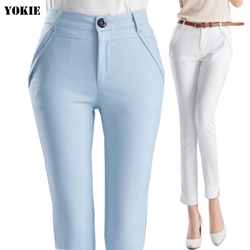 Compre Cintura Alta Mujer Elegante Pantalones De Oficina Pantalones De Trabajo Capris Damas Ol Lápiz Formal Pantalones Pitillo Clásicos Para