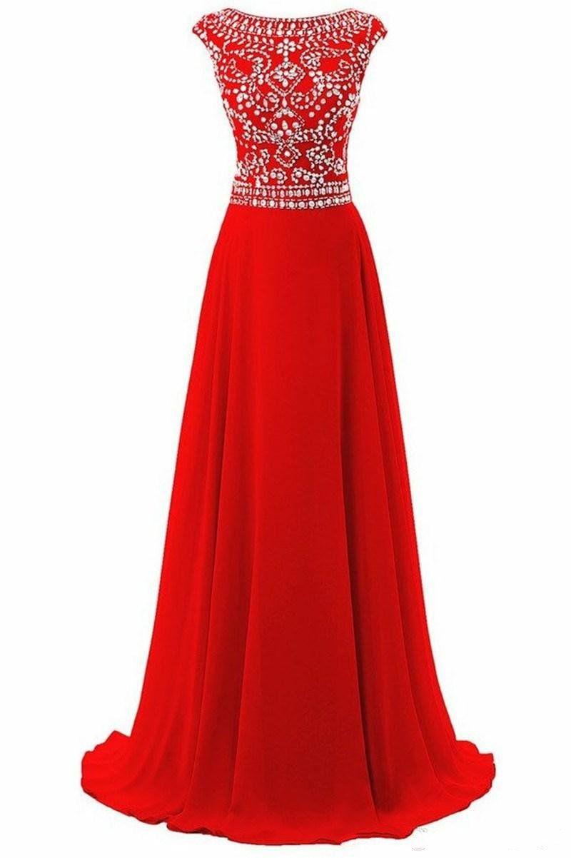 2020 Vestido Longo Para Formatura Hot Sales Red Chiffon Long Evening Dresses Rhinestones Backless Dresses for Prom