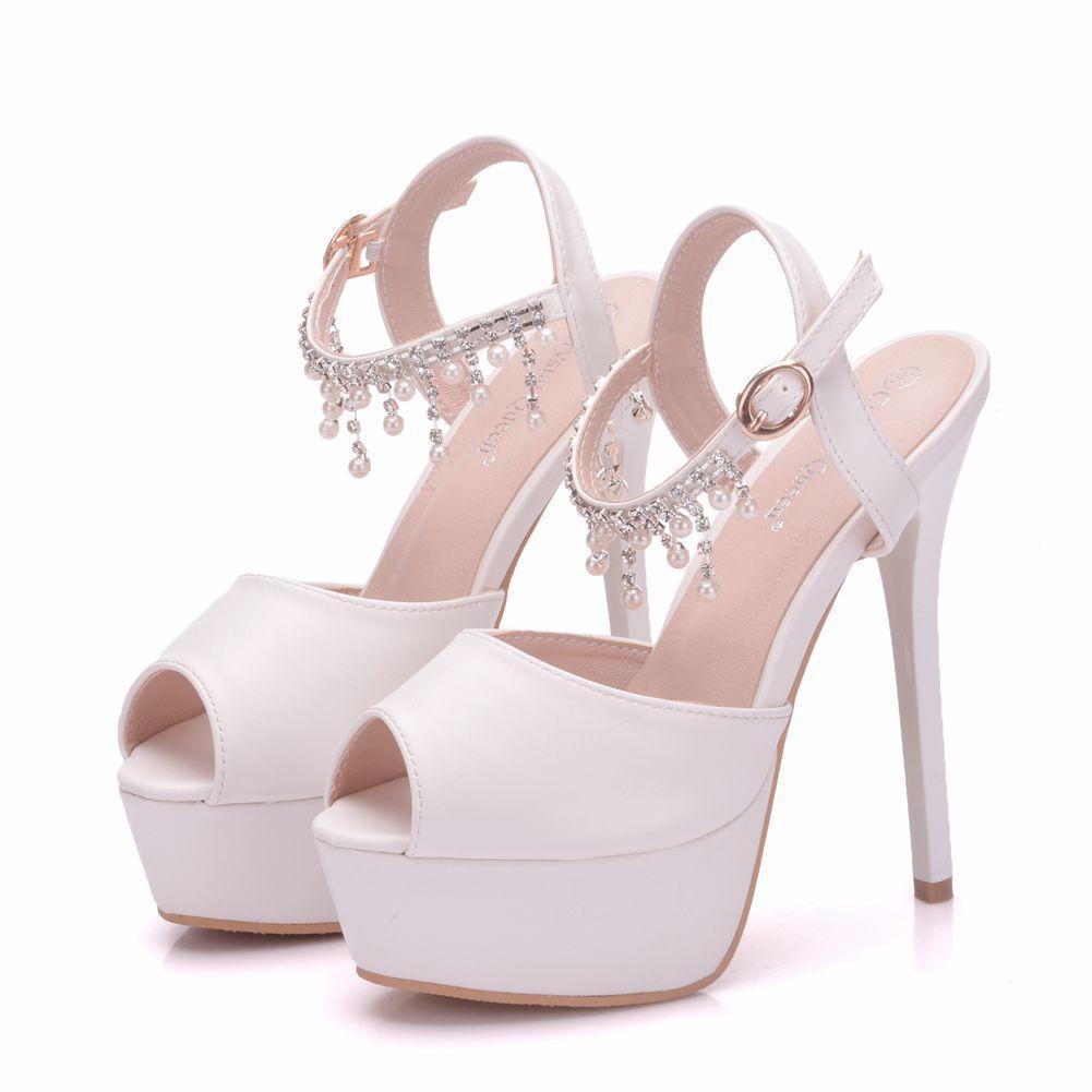 New summer white buckle peep toe shoes for women super high heels fashion stiletto heel wedding shoes Platform Beading tassel Bridal sandals