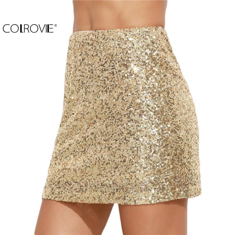 Vente en gros-COLROVIE femmes jupe courte coréenne femmes vêtements Sexy Clubwear Solid or brodé paillettes A Line Mini jupe