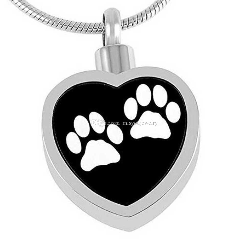 Heart Love My Fur Angel Urn Necklaces Pet Cat Dog Paw Print Memorial Cremation Ashes Ash Holder Keepsake Stainless Steel Jewelry Pendant
