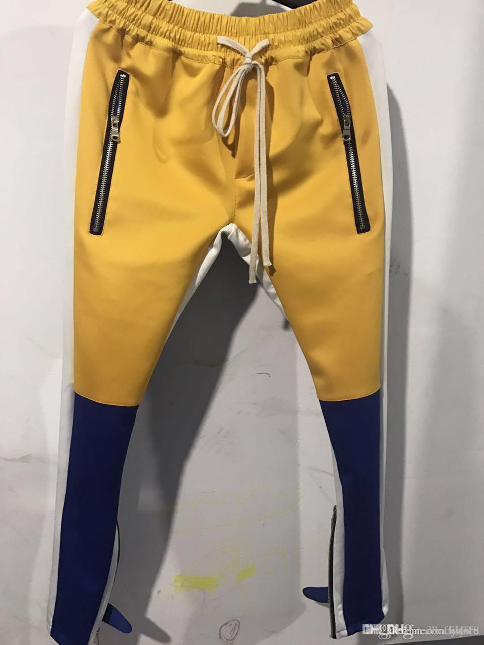 Temor de Dios FOG Justin Bieber cremallera lateral Casual Hombres pantalón de Hiphop del basculador Pantalones deportivos Sportwear S-XXL