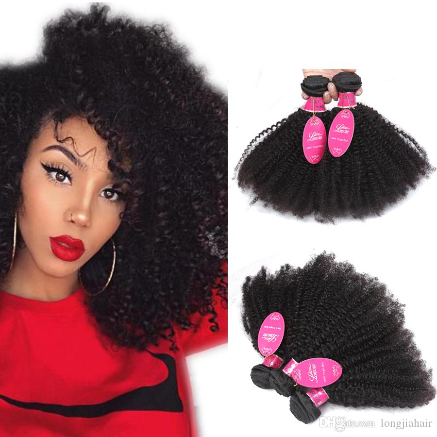 Brazilian Human Hair Afro Kinky Curly Weave Unprocessed Grade 8a Brazialin Afro Curly Virgin Hair Bundles Double Wefts Natural Color 1B