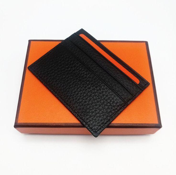 الأزياء عالية الجودة الرجال النساء جلد طبيعي حامل بطاقة الائتمان البسيطة المحفظة حامل بطاقة حقيقي جلدي مع صندوق