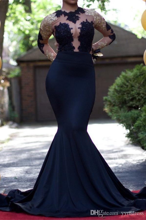 Black Girl Prom Dresses Long Sleeve Gold Lace Formal Evening Gown Mermaid 2019 Deep V Neck Sexy Backless Women Party Gowns 2K17