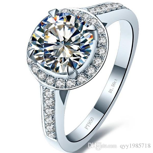 드롭 배송 여성 약혼 반지 우수한 1.5CT 소나 합성 다이아몬드 결혼 반지 여성을위한 925 스털링 실버 주얼리