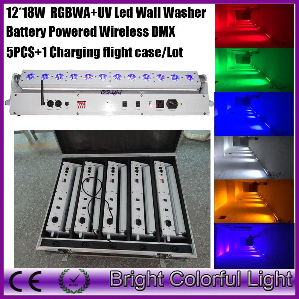 DJ lights RGBWA+UV 12x18w 6 in 1 moving head led bar light Wireless dmx battery powered led wall washer wash light 5pcs+1 case