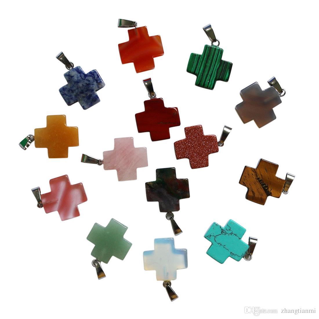 Venta al por mayor 25 unids / lote Mejor venta de alta calidad de piedra Natural color mezclado cruz colgante 20mm para la joyería que hace los pendientes regalo de la mujer libre
