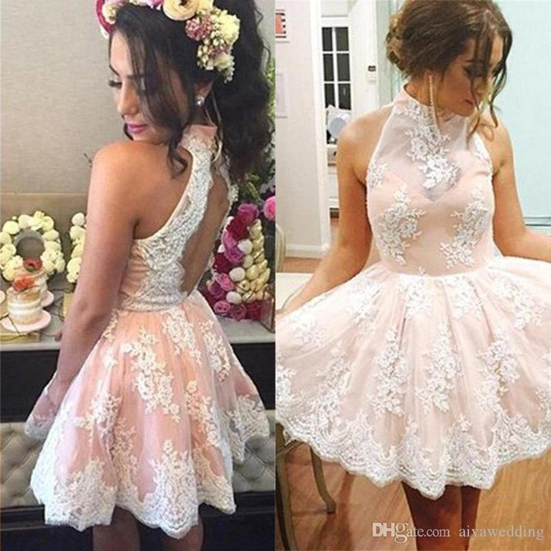 2019 High Neck Sleeves Sweety Homecoming Dresses A Line Short Lace Applique Formal Party Gowns Custom Made