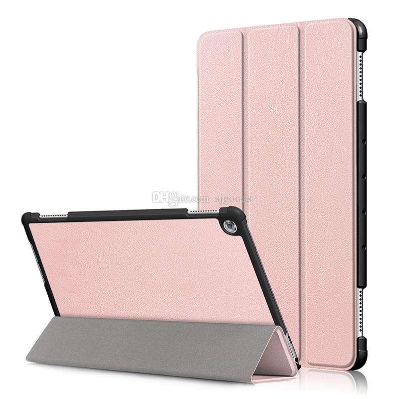 Smart Cover Auto Sleep Wake Up Tri-folding PU Leather Case for Huawei Mediapad M5 Lite 10 10.1 inch Tablet Protective Skin Shell+Stylus