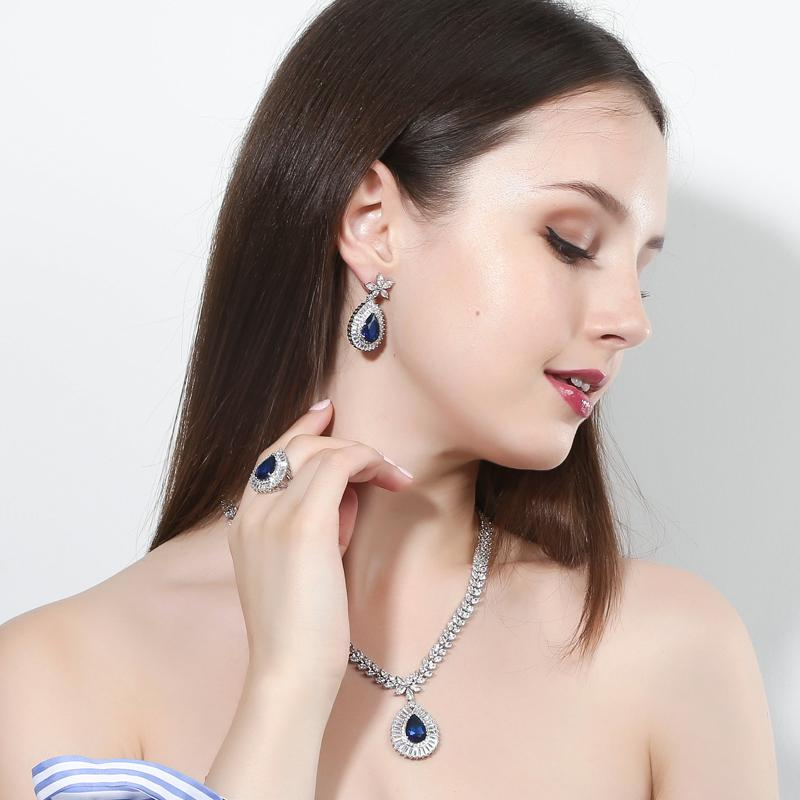 CWWZircons Water Drop Royal Blue CZ Collana orecchini anello e braccialetto 4 pezzi gioielli da sposa set per le donne da sposa partito T098