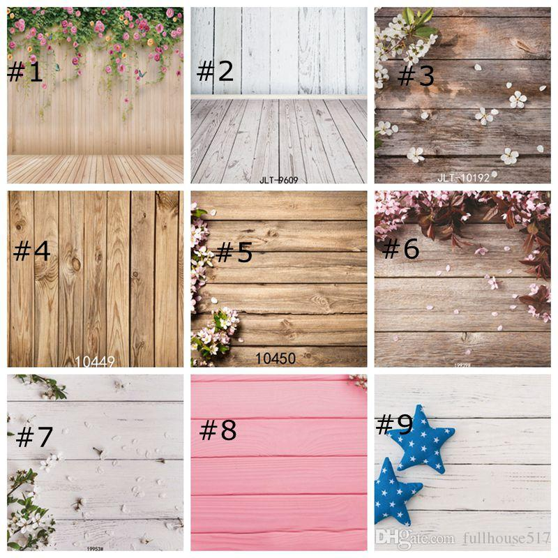 Bois mur Backdrops Photographie Props Fleurs Fonds de sol en bois pour Studio Photo Prop Home Decor Fonds d'écran 85cm x 125cm
