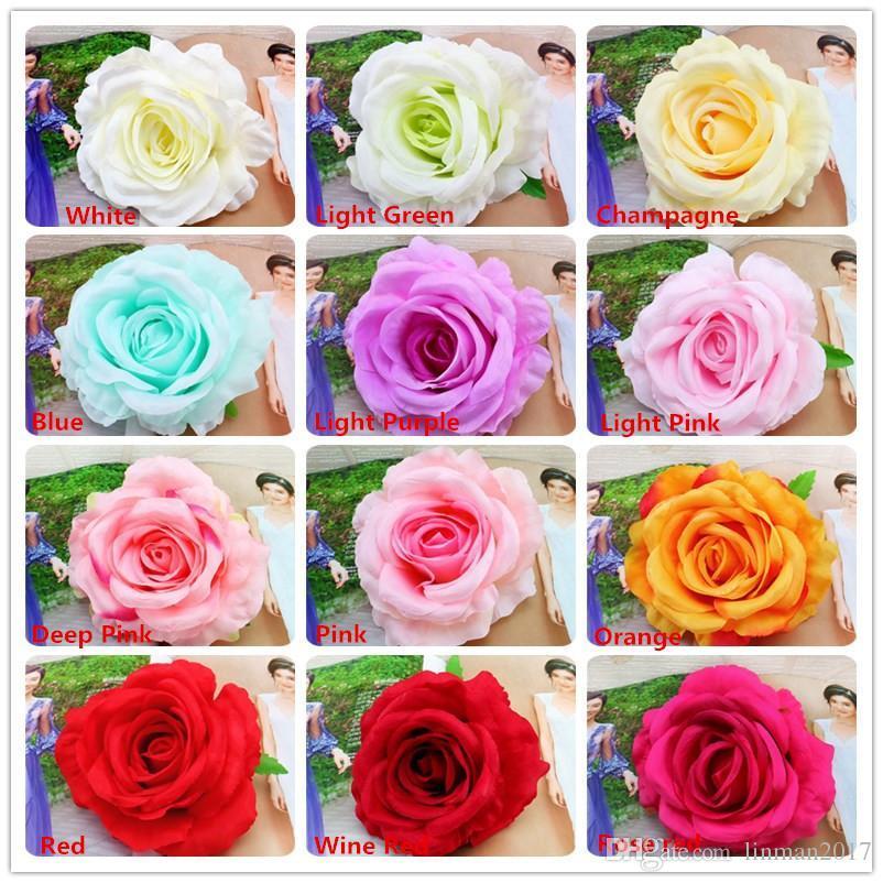 كبير الورود رئيس الزهور الاصطناعية الزهور وهمية روز رؤساء الحرير زهرة حفل زفاف المنزل الديكور زهرة جودة عالية