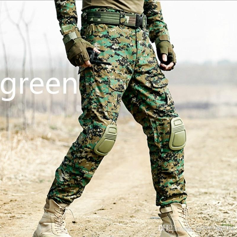 Men Multicam Camouflage Militar Tactical Pants Multi-Pockets Military Digital Camo Outdoor Combat Pants with Knee Pads