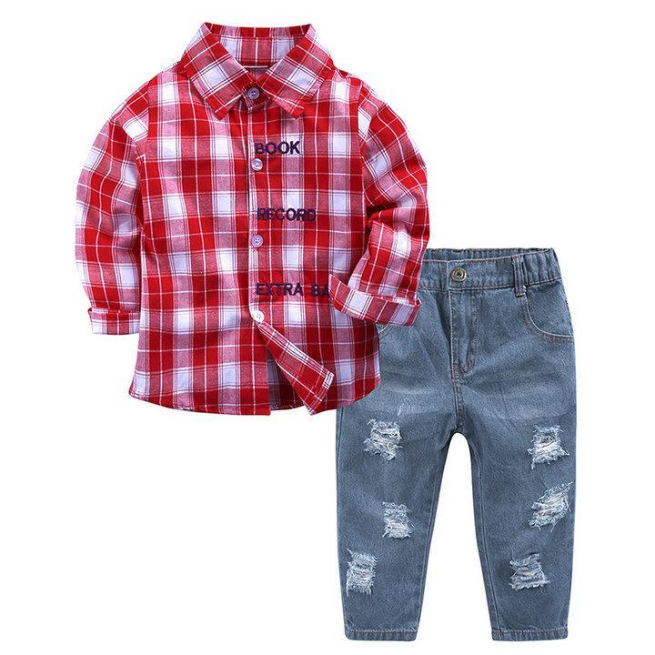 Juego para niños Juego de ropa para niños Otoño 1-6y Camisa a cuadros roja Manga completa + Vaqueros con agujeros Niños Ropa para niños