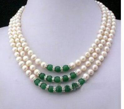 Collana ShippiNG 3Rows 7-8MM Real White Akoya con perle coltivate verde giada