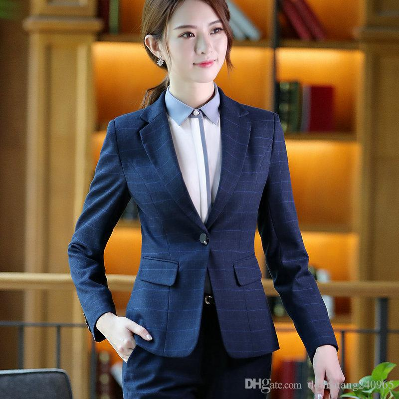 fashion plaid blue women pant suit formal Business long sleeve slim blazer and trousers office ladies work skirt wear