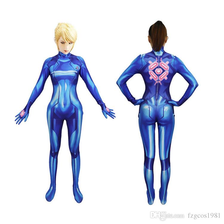 Samus Aran Blue Jumpsuit Cosplay Costume Halloween Bodysuit Adult Child