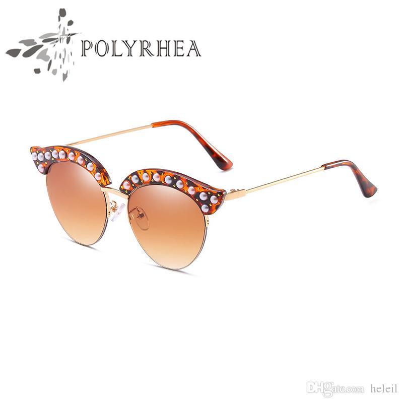 Protection Soleil Soleil Femmes Italie Diamond Luxe avec lunettes Designer rivets Vintage Pearl Lunettes de soleil UV Lunettes de soleil Mode Boîte à lunettes de soleil TAOC