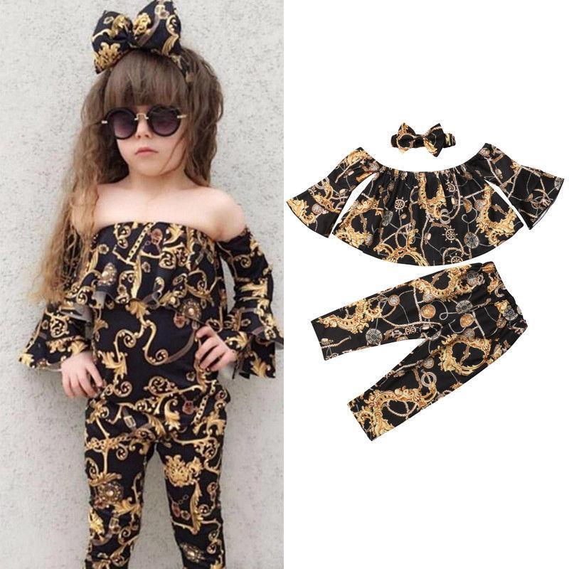 2020 New Fashion 3Pcs Casual Baby Girl Off-shoulder Tops+Loose Pants Leggings+Headband Summer Clothes Sets bell-bottomed pants