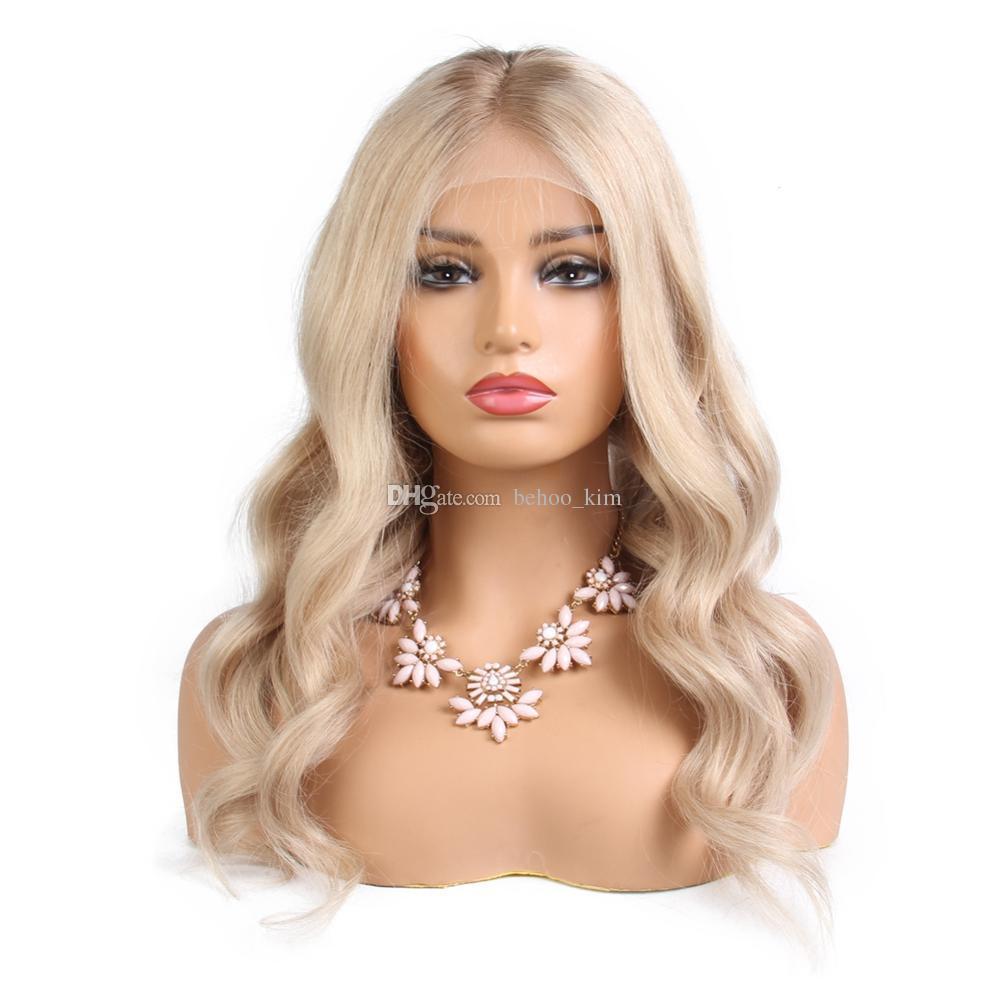 Vente chaude non transformée abordable belle vierge remy de cheveux humains longue # 613 vague naturelle pleine perruque de dentelle avant pas cher pour les femmes blanches