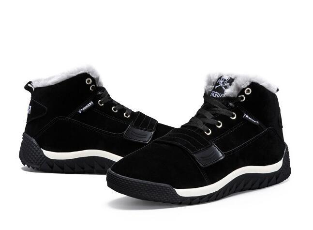 Fashion Winter men's large size cotton shoes plus velvet outdoor Classic Male Ankle Boots Winter Autumn Boot Men Size:EU39-45