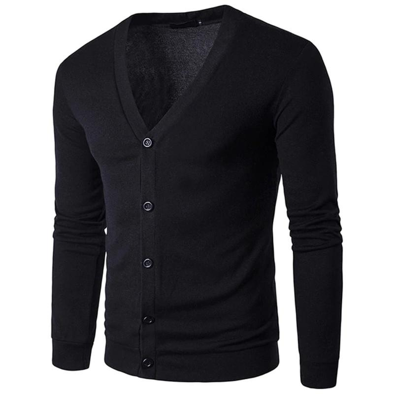 Dropshipping Fashion Autumn Solid Color Men's Sweaters High Quality V-Neck Thin Cardigan Casual Coat Men Sweater Knitwear