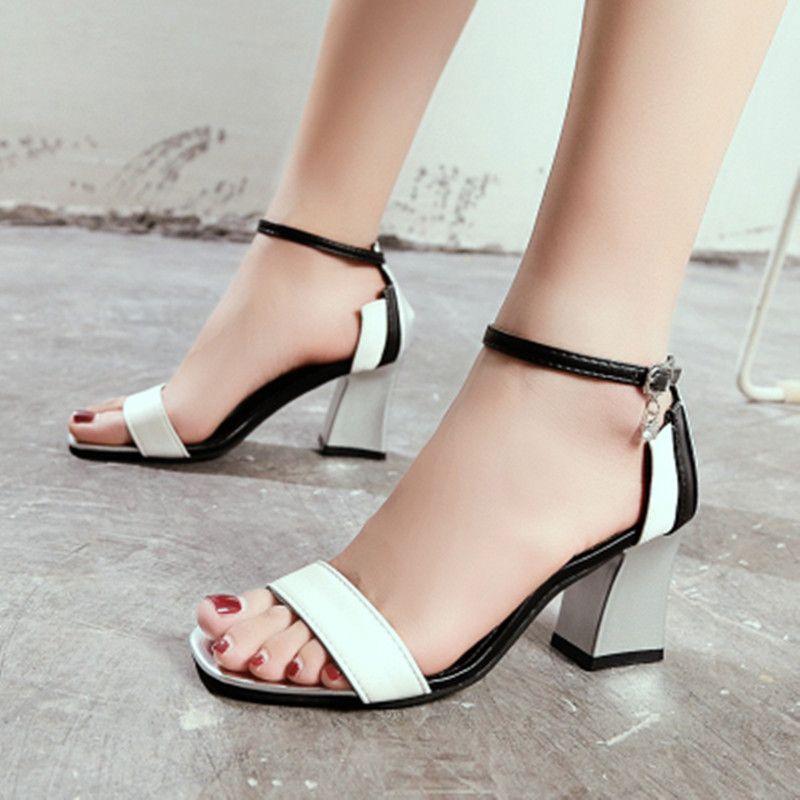 Compre Zapatos De Mujer 2018 Sandalias De Mujer De Verano Sandalias De Tacón Alto De Moda Boca Baja Zapatos De Mujer Zapatos Mujer Chaussure Femme A 14 62 Del Longzhanhua888 Es Dhgate Com