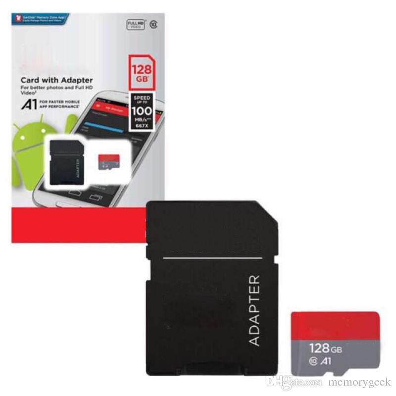 2020 뜨거운 판매 128 기가 바이트 64 기가 바이트 200 기가 바이트 화이트 A1 100mbps 클래스 10 TF 메모리 플래시 카드 무료 SD 어댑터 소매 물집 패키지