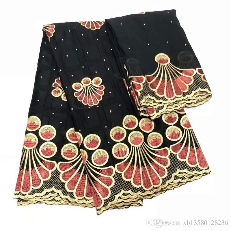Pamuk kumaş yüksek kalite ile afrika beyaz swiss pamuk vual dantel taşlar net dantel kadın elbiseler için 5 + 2 yards LYM-07