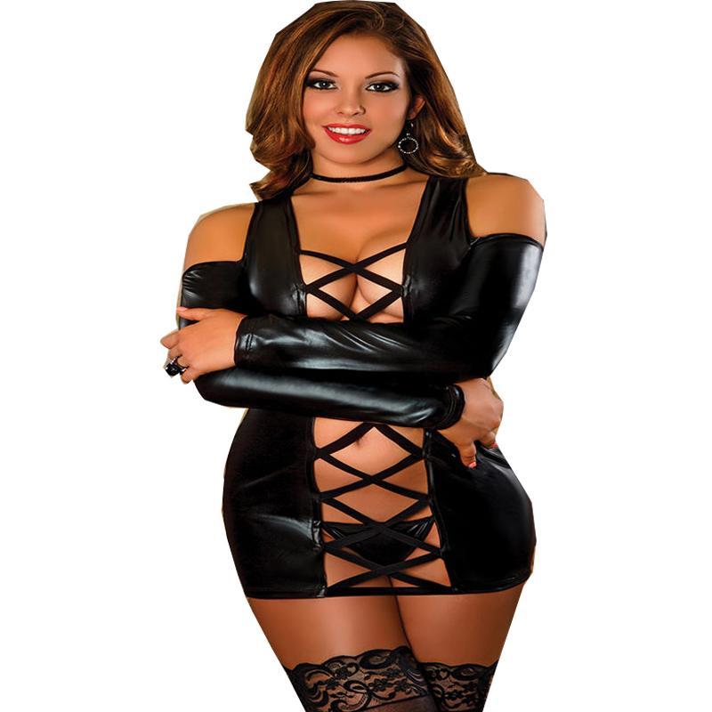 الكلاسيكية wetlook الأسود البسيطة اللباس clubwear 2017 جودة عالية مثير كم طويل قطع الكتف فو اللاتكس النساء فساتين غريبة s926