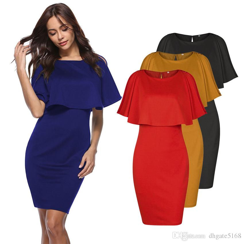Bayan Kolsuz Ekip Boyun Batwing Cape bodycon ince Midi Elbise Akşam Maxi kırmızı siyah sarı mavi Bayanlar elbiseler