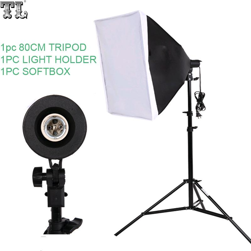 Freeshipping Photography SoftBox 조명 키트 50x70cm Softbox 80cm 램프 스탠드 Photo Studio 액세서리 세트