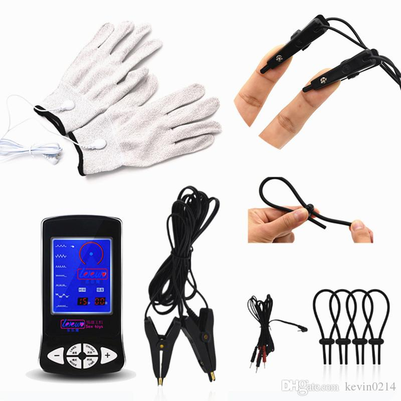 3in1 электрический шок зажимы для сосков пениса кольца задержка эякуляции Pad массажер для взрослых Электродные перчатки секс-игрушки для мужчин I9-1-219