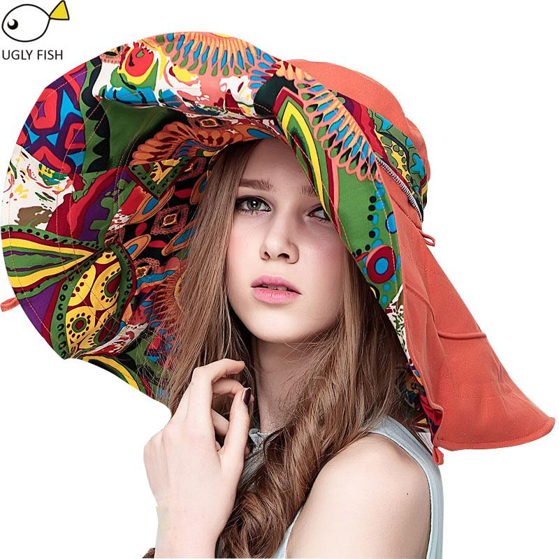 Sun Hats For Women Summer Large Beach Hat Flower Printed Wide Brim Hats Ladies Elegant Hats Girls Vacation Tour Hat Accessories