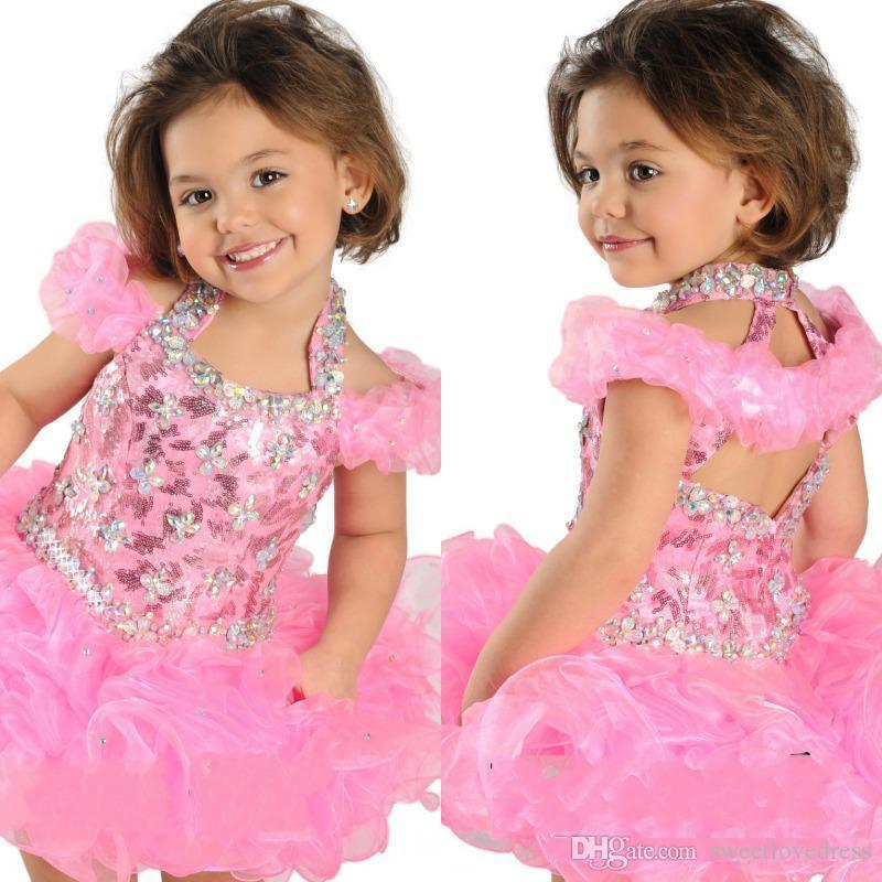 Hot Selling Ball Gown Halter Girls' Pageant Dress For Toddler Infancy Short Crystals Beaded Formal Dresses Handmade Ruffle Organza Girls' Pa