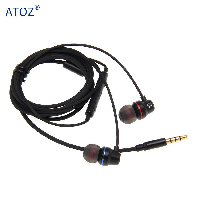In-ear fone de ouvido com fio para telefone celular fones de ouvido de metal cor preta 3,5 milímetros na orelha Esporte Micro fone de ouvido para iPhone Xiaomi com Mic