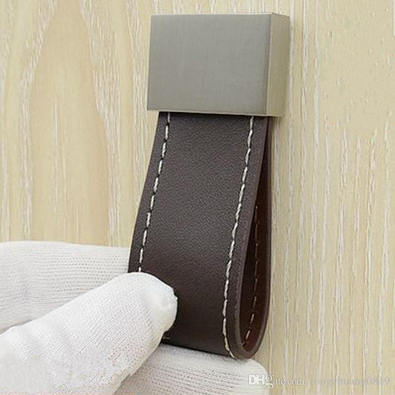 Hardware leather handle Zinc alloy coffee wardrobe handle Single hole drawer small knobs Rectangular cabinet safe pulls