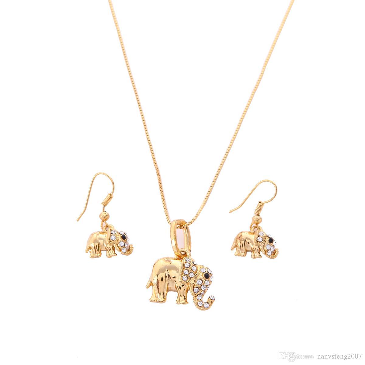 Collier pendentif éléphant mignon zircone cubique avec ensemble de bijoux