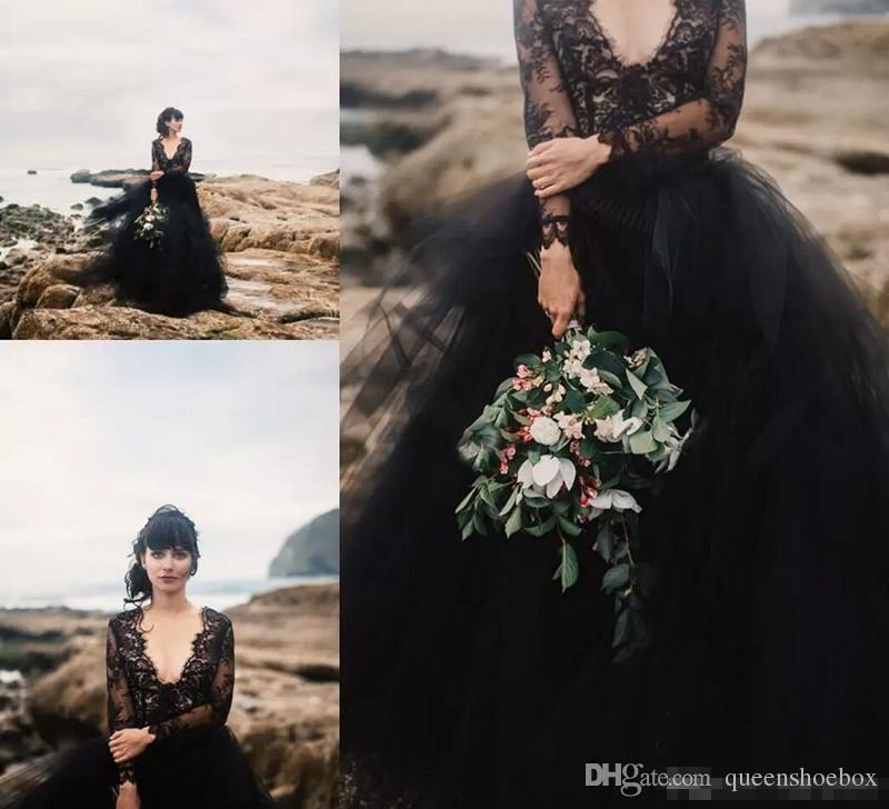 2018 Siyah Bohemia Gelinlik ile Illusion Uzun Kollu Backless Puf Tül Boho Ucuz Gotik Düğün Gelin Örgün Törenlerinde Ucuz