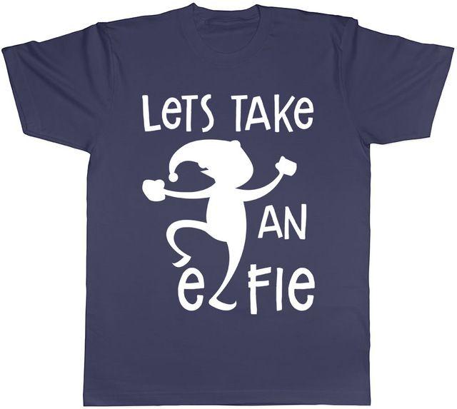 Womens Ladies Christmas Lets take a Elfie Xmas Stretchy Cap Sleeve Tee Shirt Top