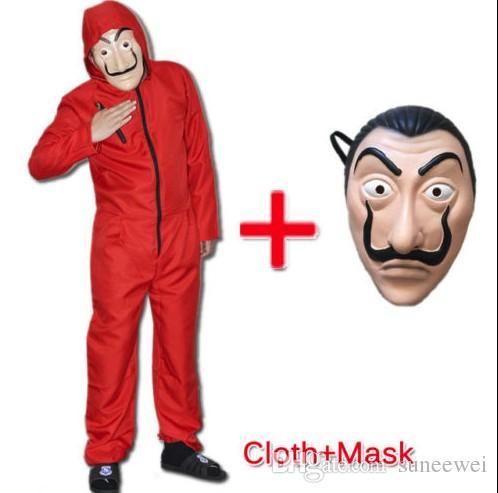 Salvador Dali Money Heist La casa De Papel Cosplay Costume Suit Jumpsuit Mask