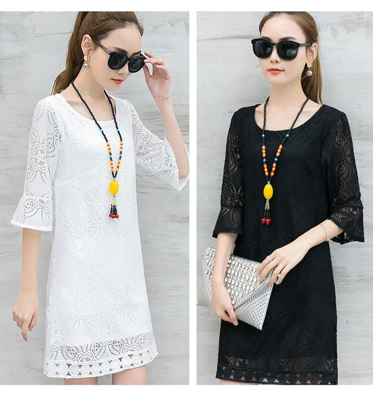 New Women Dress Summer Casual Hollow Lace Dresses Ladies Half Sleeve Vestidos Mujer Dress Plus Size White Robe Femme Mode 2018 (1)