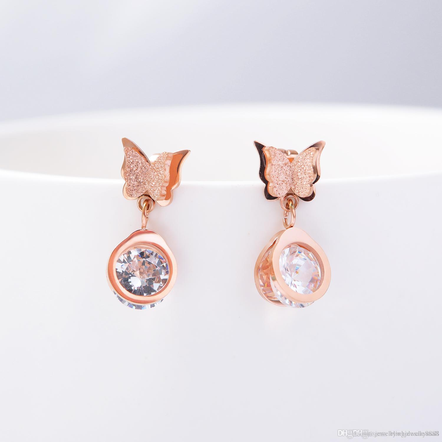 New Butterfly Stainless Steel Stud Earrings For Women Girls Rose Gold Frosted Double Butterfly Ear Studs Jewelry Gift RO470