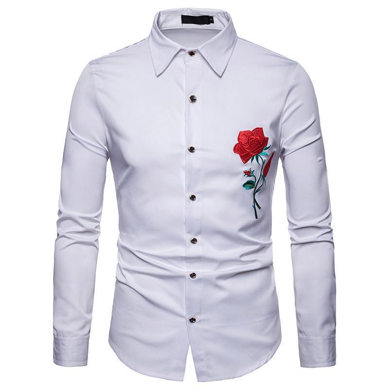 뜨거운 판매 2018 패션 남자 셔츠 클랜 바람 로즈 자수 캐주얼 슬림 맞는 남성 셔츠 턴 다운 칼라 남성 긴팔 셔츠