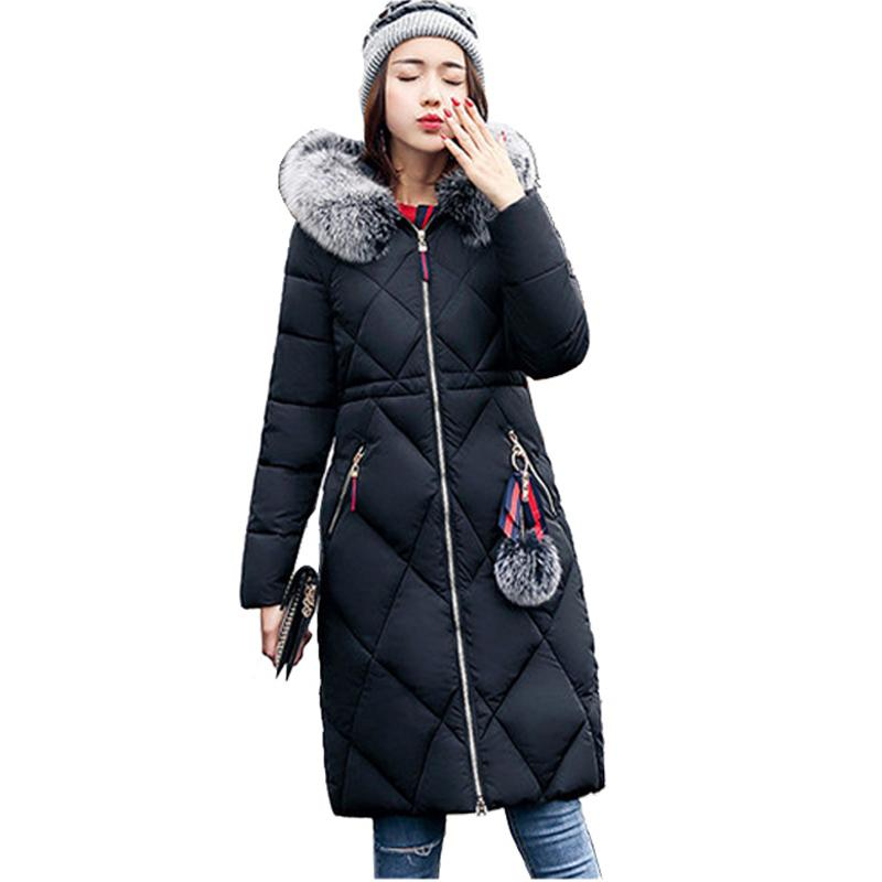 Womens Winter Jackets Hooded Faux Fur Collar Extra Long Coat Woman Parka Solid Cotton Padded Warm Outwear