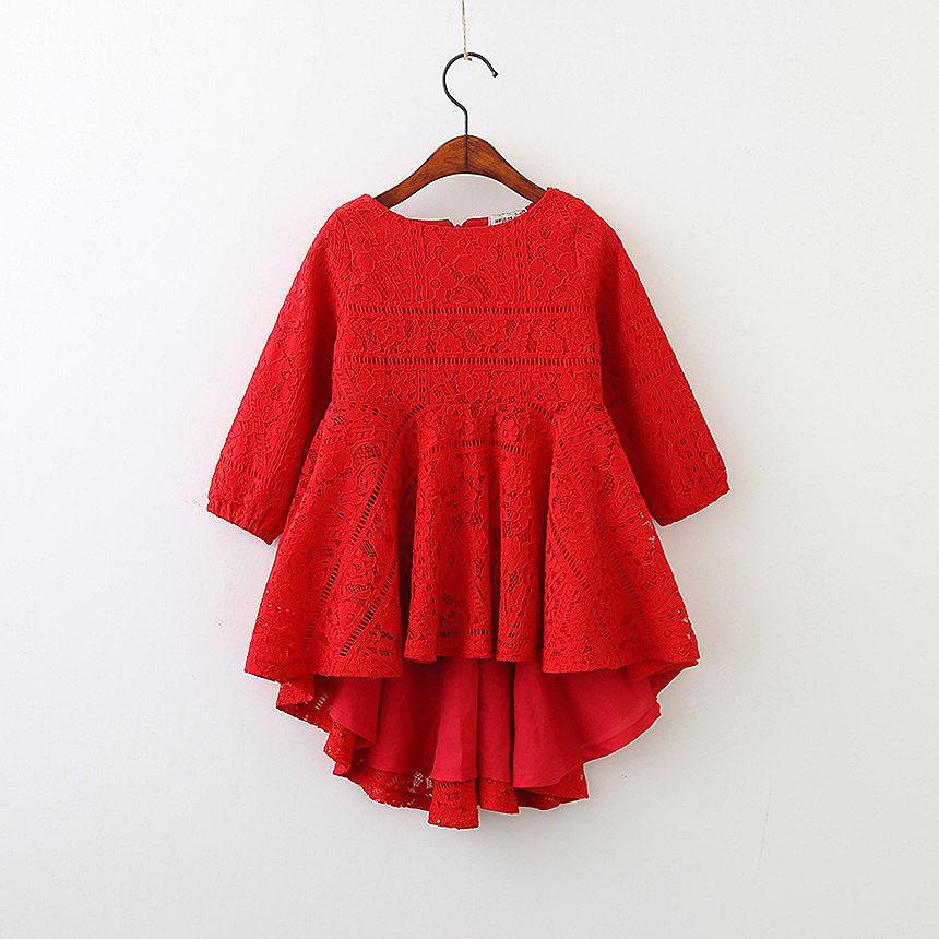 5250 Kırmızı Dantel Uzun Kollu Prenses Parti A-line Çocuk Elbiseleri Bebek Kızlar Için 2018 Bahar Çocuk Giyim toptan çocuk Giysileri